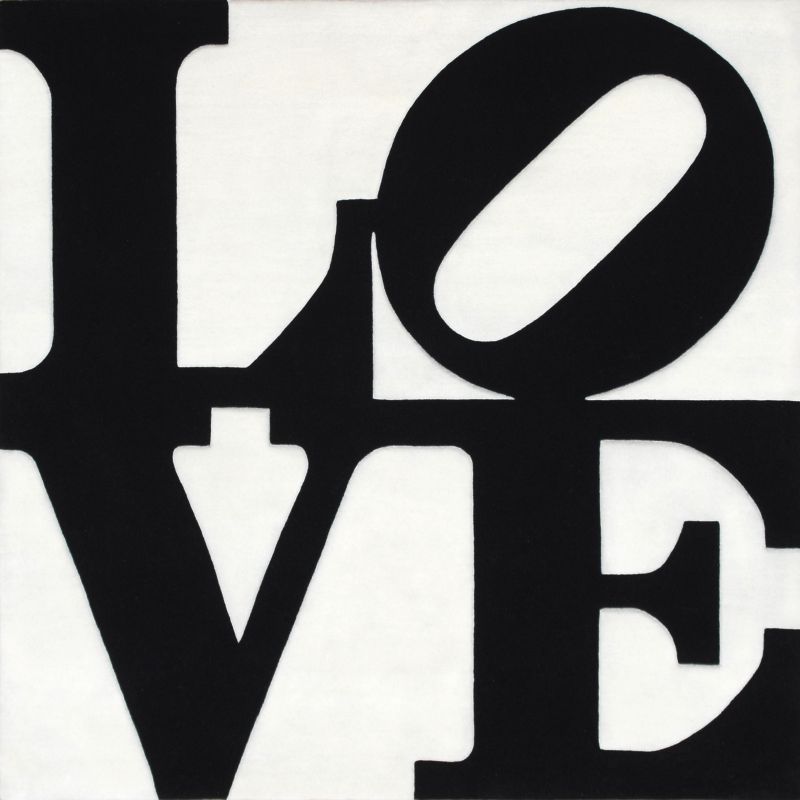 Art Platform ~ Black on White Love by Robert Indiana